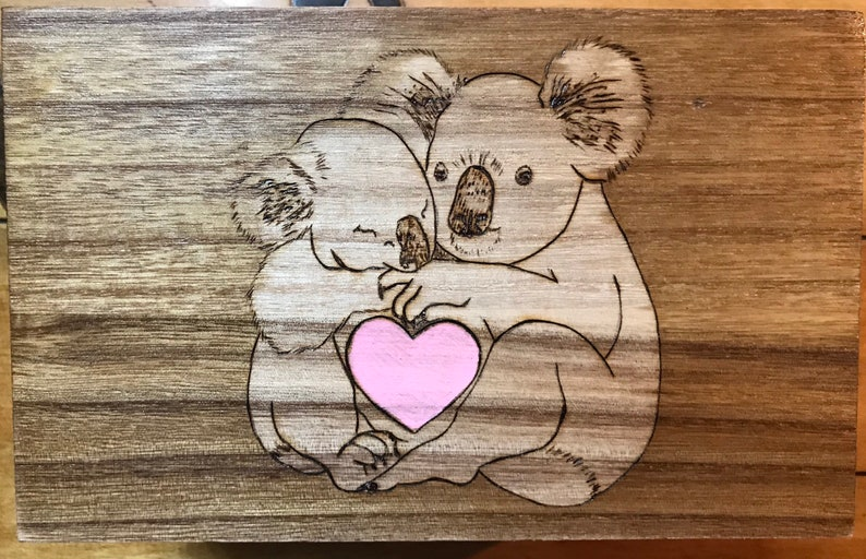Adorable wooden box wood burned with a Koala family.