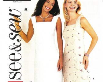 Butterick Pattern 3880 Ms EZ SEE /& SEW Sleeveless A-Line Dress in 2 Lengths