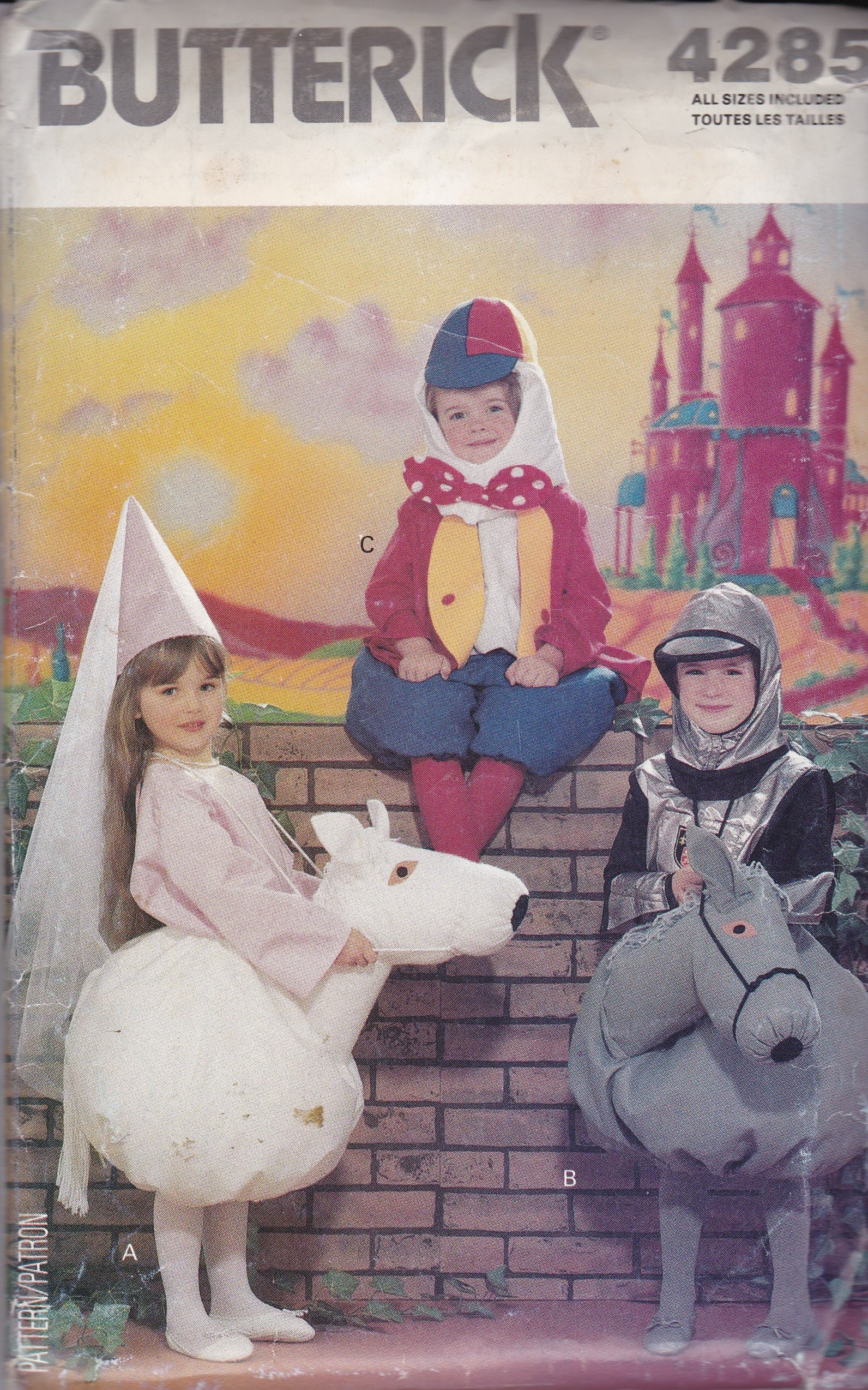 Vintage, NEW & UNCUT Butterick 4285 in sizes 4-10 for child's costumes   Humpty Dumpty, Princess on Horse, and Knight on Horse, Halloween