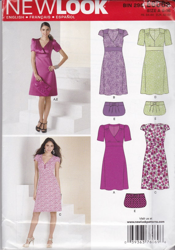 RARE, NEW & UNCUT NewLook 6069 for Misses dresses, clutch bags. Mock Wrap bodice, A line skirt, banded waist, special occasion or day dress