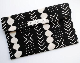 Diaper Clutch: Mud Cloth - Black Diaper Clutch - Diaper Bag Organizer - Diaper & Wipes Case - Black Nappy Clutch - Changing Clutch
