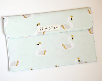 Diaper Clutch: Mint Royal Swans - Mint Green Diaper Bag - Diaper Bag Organizer - Diaper Pouch - Diaper & Wipes Case - Swan Baby Accessories