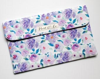 Diaper Clutch: Plumsy Watercolor Floral - Changing Clutch - Diaper Clutch Girl - Purple Diaper Clutch - Diaper Bag Organizer - Diaper Pouch