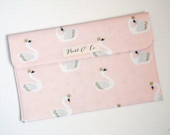 Diaper Clutch: Blush Royal Swans - Pink Diaper Clutch - Diaper & Wipes Case - Diaper Bag Organizer - Diaper Clutch Girl -Swan Baby Accessory