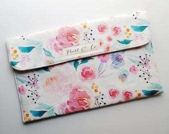Diaper Clutch: Mermaid Lagoon Watercolor Floral - Diaper Bag Organizer - Diaper Clutch Girl - Floral Diaper Clutch - Pink Diaper Pouch