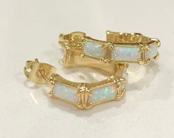 18K Gold Plated Tiny Opal Hoop Earrings. Small Hoop Opal Earrings. Bridal Earrings
