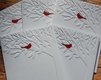5 Embossed Tree Cards With Red Cardinal, Greeting Cards, Handmade Blank Card Set, Note Cards, Thank You Cards, Birthday Cards, Sympathy Card