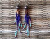 Long dangle earrings, fringe earrings, boho tassel earrings, long beaded earrings, statement earrings, southwestern jewelry, gift for her 36