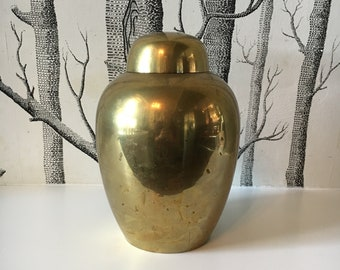 Vintage Brass Ginger Jar with Lid Vase Decorative 1970s