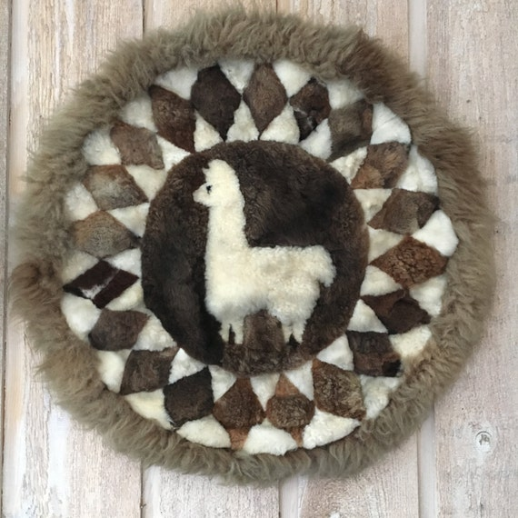 Large Retro Patchwork Alpaca Fur Wall Hanging Art Rug