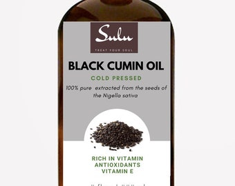 100% Pure and Natural Organic Extra Virgin Cold Pressed Black Cumin Oil