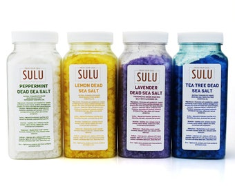 Set of 4 jars Dead Sea Bath Salt Scented with Organic Essential Oils