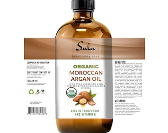 100% pure  USDA Organic Cold pressed VIRGIN UNREFINED Moroccan Argan Oil  from 4 oz(118 ml) up to 7 lbs