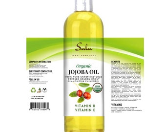 Organic Unrefined Golden Jojoba oil 100% pure all natural cold pressed jojoba  from 4 oz up to 7 lbs