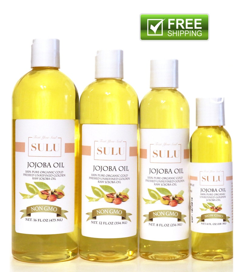 Organic Unrefined Golden Jojoba oil 100% pure all natural cold image 0