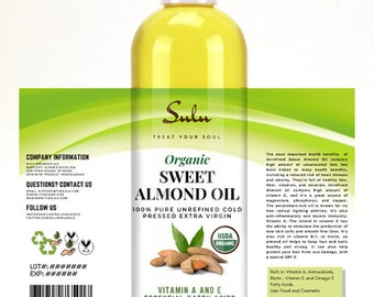 100% Pure Sweet Almond oil organic high quality Unrefined Sweet Almond oil from 4 oz up to 7 lbs