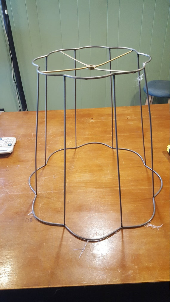 Vintage Wire Frame Scalloed Edged Bell Lamp Shade With Etsy