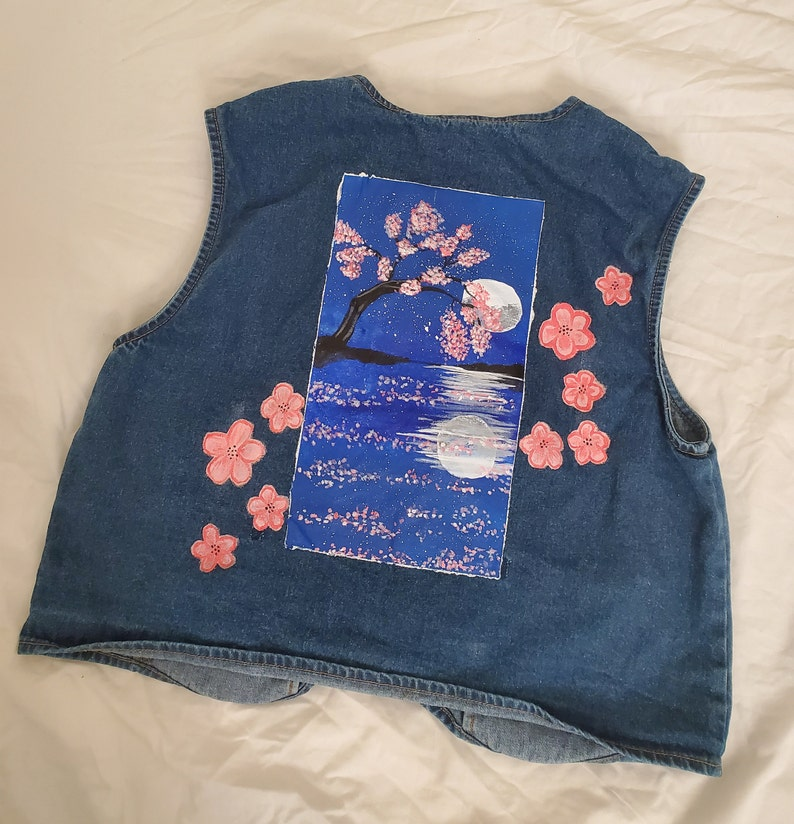 Hand painted denim vest
