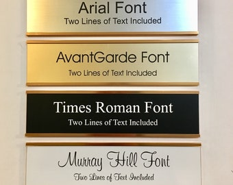 """2"""" x 8"""" Laser Engraved Name Plate with Gold Aluminum Holder Adhesive Backed - Wall - Cubicle - Door - Flush Mountable"""