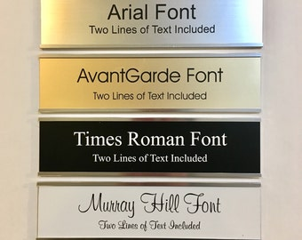 """2"""" x 8"""" Laser Engraved Name Plate with Silver Aluminum Holder Adhesive Backed - Wall - Cubicle - Door - Flush Mountable"""