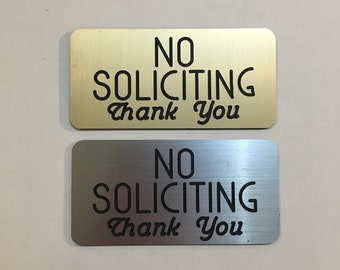 "No Soliciting Sign 2"" x 4"" Engraved with Rounded Corners & Adhesive Backing - For Indoor and Outdoor Use"