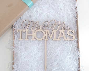 Personalised Wedding Cake Topper, Wooden Cake Topper, Glitter Cake Topper, Rustic Cake Topper, Various Colours
