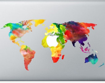Watercolor macbook etsy sticker macbook watercolor worldmap decal for macbook air pro retina 11 12 13 15 or 17 inches skin for macbook easy to stick gumiabroncs Choice Image
