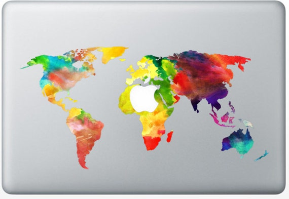Sticker macbook watercolor worldmap decal for macbook air etsy image 0 gumiabroncs Gallery