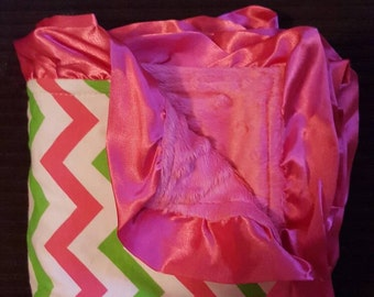 """NOW ON SALE! Baby Toddler Minky Blanket with Satin Ruffle Pink and Green Chevron Pink Ruffle 31"""" x 31"""""""