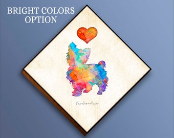 Choose color,Add dog's name option Yorkie-Pom Dog Breed Watercolor ...