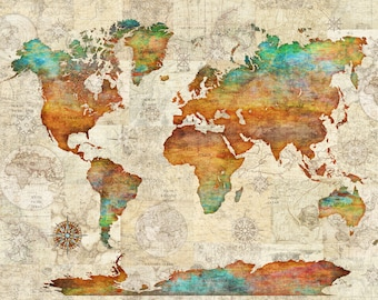 World map tapestry etsy popular items for world map tapestry gumiabroncs Choice Image