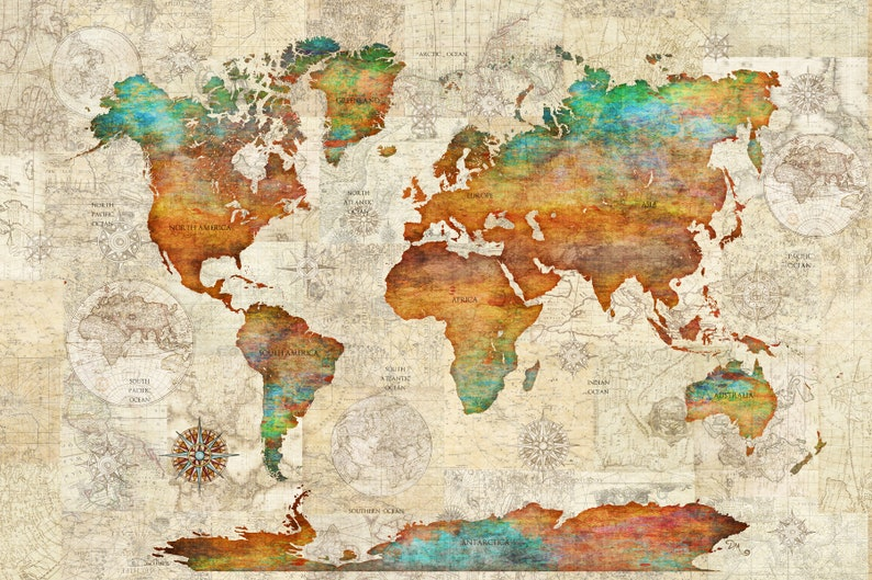 World Map Tapestry Decorative Wall Hanging by Dan Morris | Etsy on