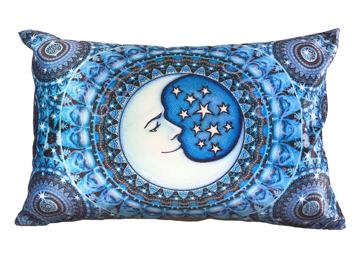 Bohemian Blue Moon Bed Pillow Case Cool Satin Fabric Fits