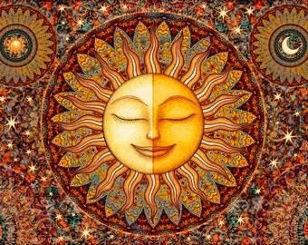 Tapestry, Healing Sunshine Celestial Tapestry Wall Hanging by Dan Morris, Bhakti, celestial tapestry, washable, Choose size