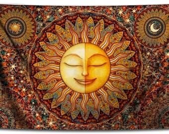 Tapestry, Healing Sunshine Celestial Tapestry Wall Hanging by Dan Morris, Bhakti, celestial tapestry, washable, Choose size, ©Dan Morris