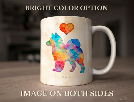 Pomsky Watercolor Dog Silhouette Mug, Personalize, Two color options, Add  dog's name option, In Loving Memory Option, by Dan Morris
