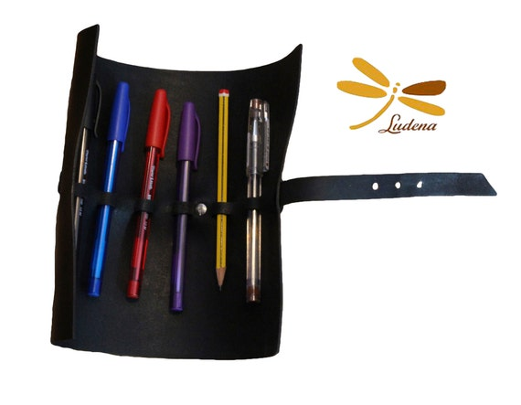 Pencil case simple style for painter artistic gift.  Black leather colored pencil cover. Handmade black leather pencil case