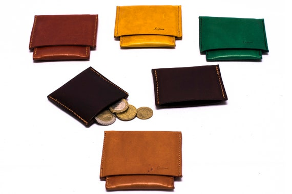 Wallet handmade yellow and green leather desing Ludena fot your money and credit card Mens Leather wallet. Front Pocket Leather wallet.