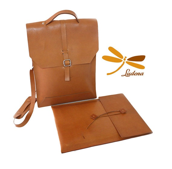 Brown leather bag and case for laptop, leather set for men you can carry your laptop in an elegant and simple way wherever you go!