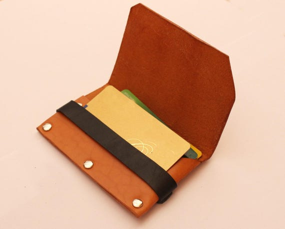 Leather wallet, wallet cards, wallet minimalist, Wallet with security leather strip, simple design card wallet.