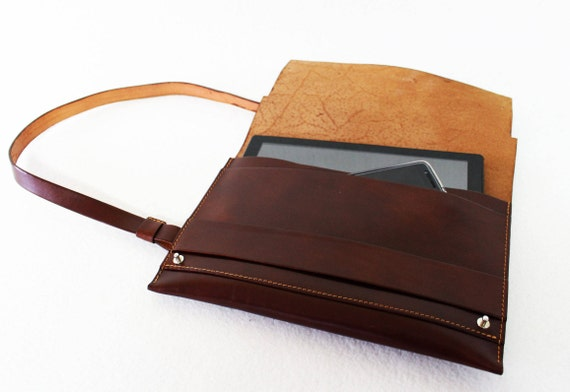 Leather laptop case, Leather iPad case, Leather bag, Leather shoulder bag, Leather clutch