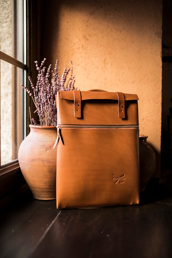 Leather backpack, Daily backpack, Brown leather backpack, Mens backpack, Laptop bag, Birthday gift, Minimal desing Ludena.