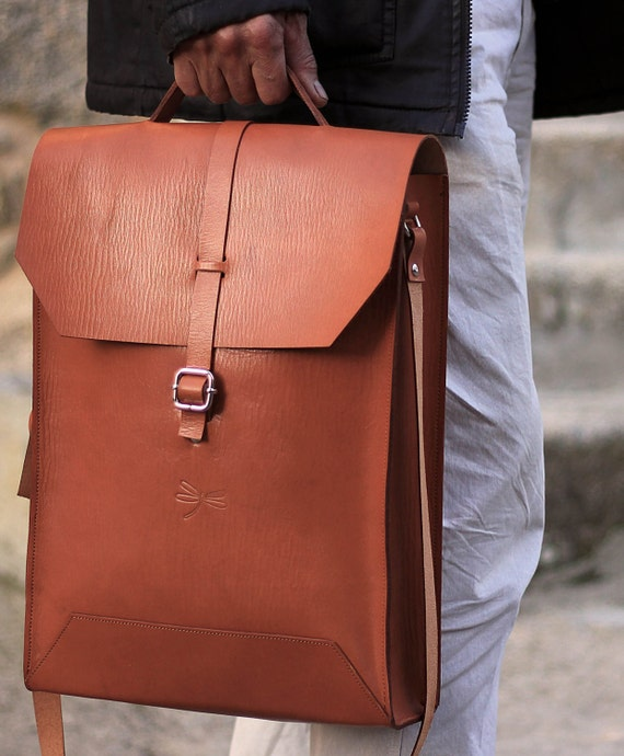 Leather Bag - Mens business bag - computer bag - leather messenger , handmade man briefcase - Leather Shoulder Bag Nature