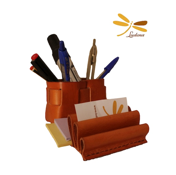 Leather pencil holder -Office accessories for pencils, pens, notebook and business cards - Pencil leather organise - desk pen holder
