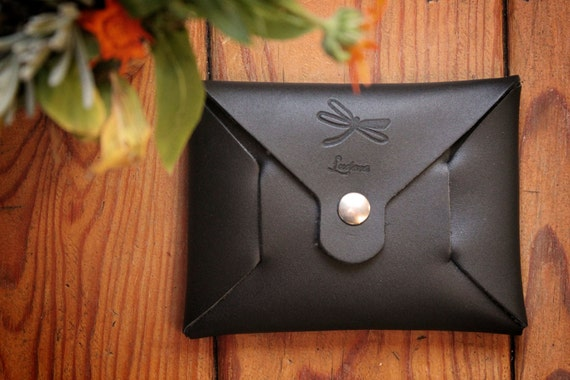 Black leather purse, seamless origami wallet, minimalistic card wallet. Wallet for men or for women.