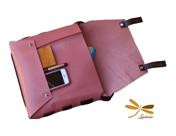Leather Clutch Bag. Handbag for iPad, books, folders, ect. The best leather and Ludena design. Handbag, Minimalist , Handmade, Women, Gift