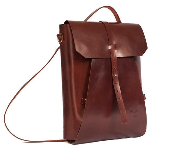 Leather backpack - Leather briefcase - Vintage - Office bag - Ludena - Leather bag backpack for laptop - Laptop backpack