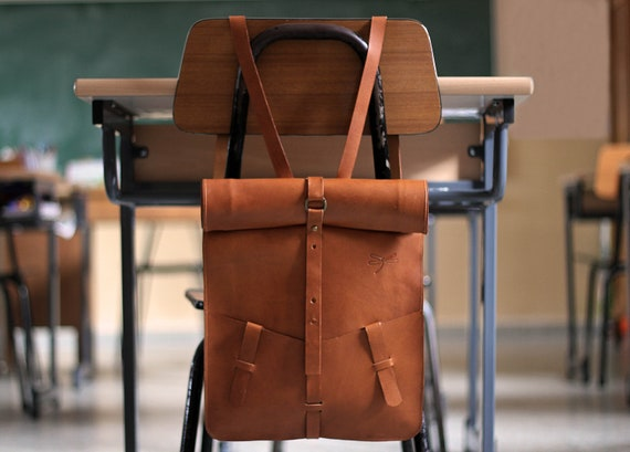 Roll-top Leather backpack. Laptop pocket. Natural leather. Custom made and handmade by Ludena