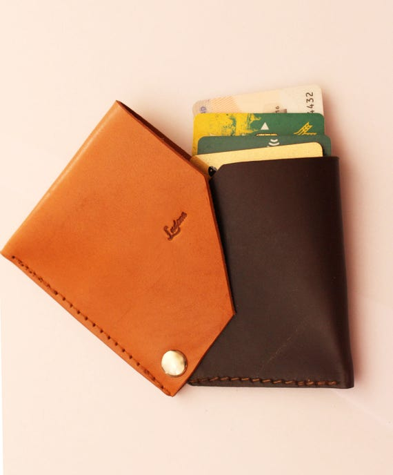 Leather wallet, leather card holder, wallet with safety flap, leather wallet two colors, wallet minimalilsta, wallet original design Ludena.