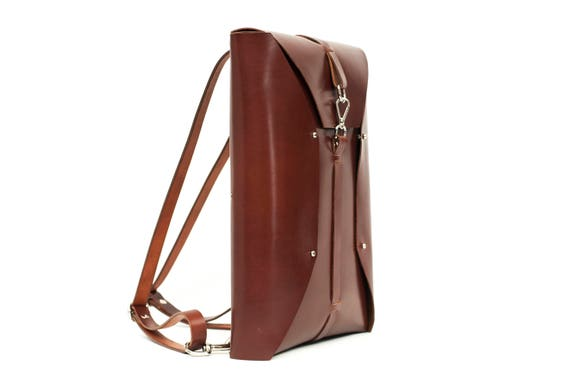Folded laptop case and backpack, ect-Tan color leather- backpack for laptop